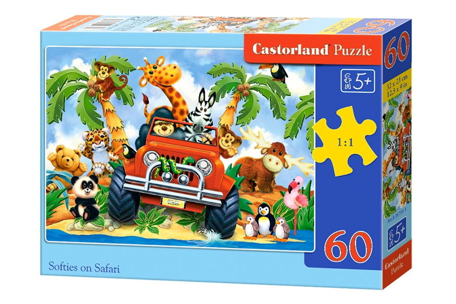 Puzzle 60 elementów Softies on Safari +5 Castorland